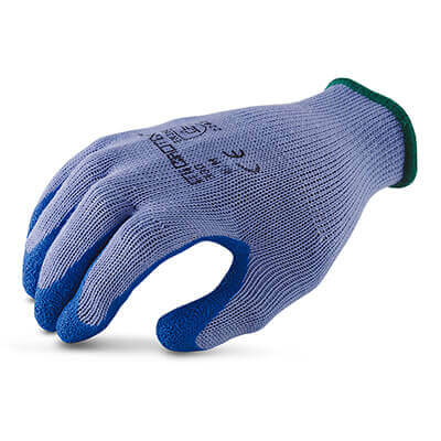 ถุงมือถักเคลือบยางธรรมชาติสีฟ้า 300