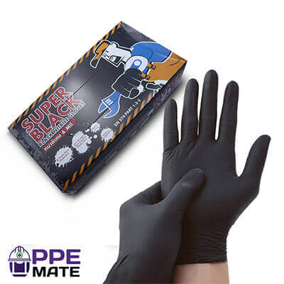 ถุงมือไนไตรสีดำ Microtex Super Black