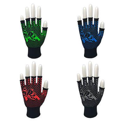 ถุงมือถักพิมพ์ลายมอเตอร์ไซด์สะท้อนแสง ครึ่งนิ้ว (บรรจุ 12 คู่)