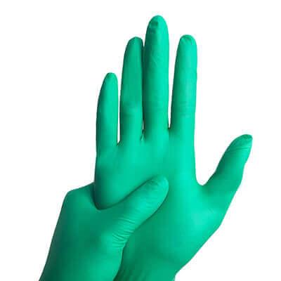 ถุงมือยางไนไตร ไม่มีแป้ง สีเขียว หนา 5.5 mil. [S] สินค้าล้างสต๊อก