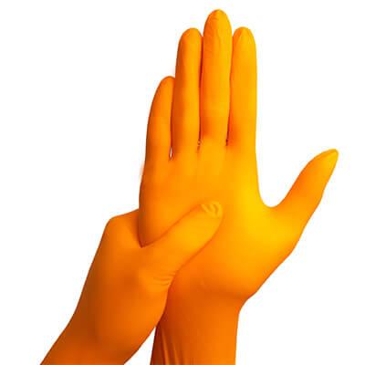 ถุงมือไนไตร สีส้ม หนา 6 mil. [S] สินค้าล้างสต๊อก