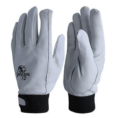 ถุงมือหนังแพะ ข้อมือติดเวลโก Size. L