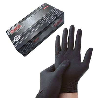 ถุงมือยางไนไตรสีดำ หนา 6 mil. รุ่น Black Barrier (M)