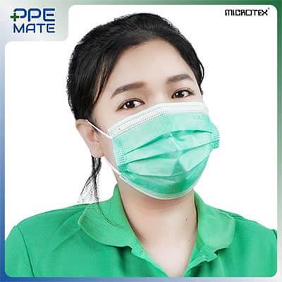 หน้ากากอนามัย 3 ชั้น รุ่น MICROTEX® Face Mask Spunbond 3 ply สีเขียว