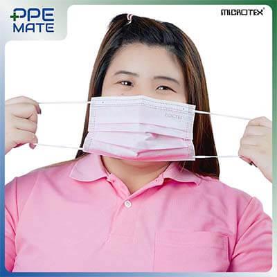 หน้ากากอนามัย 3 ชั้น รุ่น MICROTEX® Face Mask Spunbond 3 ply สีชมพู