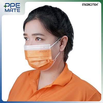 หน้ากากอนามัย 3 ชั้น รุ่น MICROTEX® Face Mask Spunbond 3 ply สีส้ม