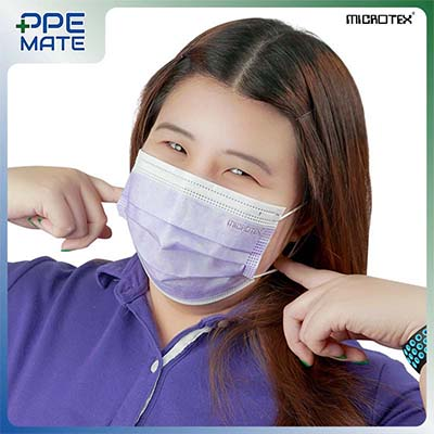 หน้ากากอนามัย 3 ชั้น รุ่น MICROTEX® Face Mask Spunbond 3 ply สีม่วง