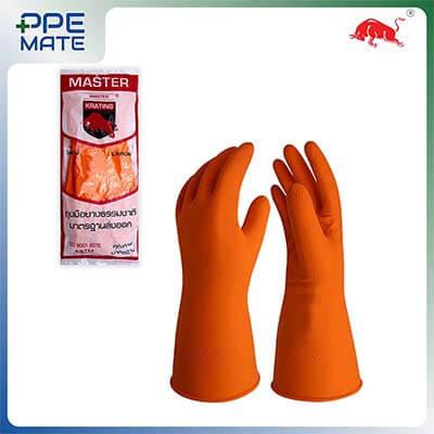 ถุงมือยางธรรมชาติกระทิง หนา 22 Mil. สีส้ม Size. L