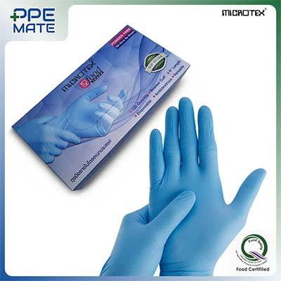 ถุงมือยางไนไตรสีฟ้า รุ่น MICROTEX®️ FOOD TOUCH Size. L