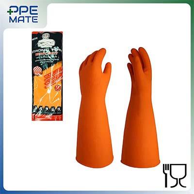 ถุงมือยางชนิดหนา 16 นิ้ว Strong Man สีส้ม สำหรับงานทำความสะอาด สัมผัสอาหารได้