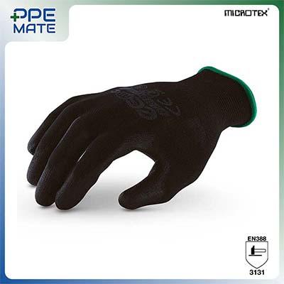 ถุงมือถักเคลือบพียูสีดำ รุ่น MICROTEX®️ ECO PU Black สำหรับงานอิเล็กทรอนิกส์ งานประกอบชิ้นส่วนรถยนต์