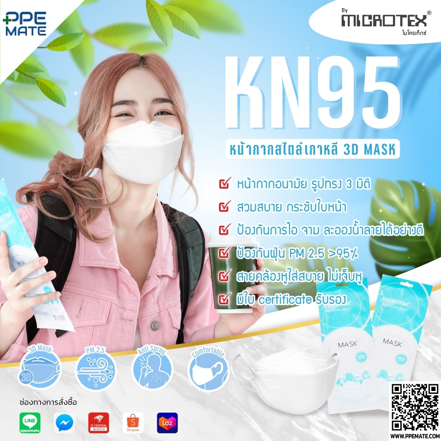 ผ้าปิดจมูก MICROTEX Full Series Mask มาตรฐาน KN95
