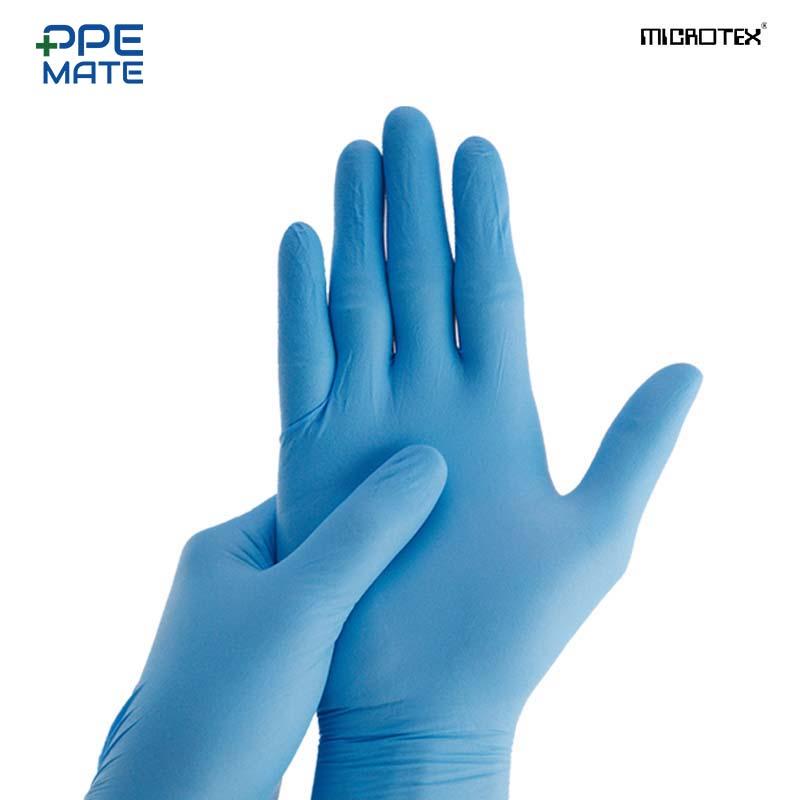 ICROTEX CarePlus ถุงมือไนไตรสีฟ้าสำหรับงานอาหาร ป้องกันเชื้อโรค / 100 ชิ้น