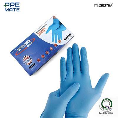 MICROTEX Super Touch Hybrid ถุงมือยางสีฟ้า