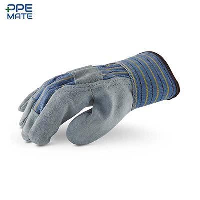 ถุงมือหนังท้องผ้าลายคาด ขอบเซฟตี้ Cow Split Leather Palm Gloves Size. L