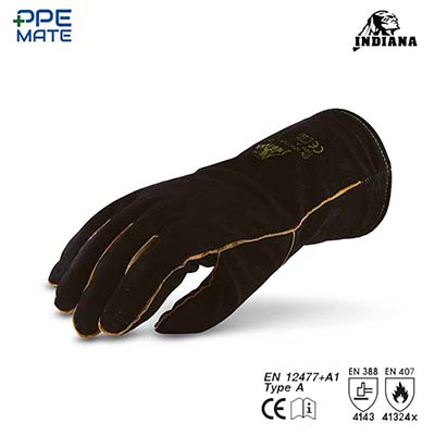 Black Cow Split Leather Gloves ถุงมือหนังท้องสีดำ Size. L