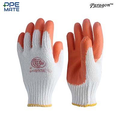 ถุงมือเคลือบยางธรรมชาติ สีส้ม แบบหนา รุ่น OR-300 Free Size.