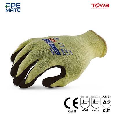 TOWA AG591 ถุงมือถัก Kevlar เคลือบไนไตร