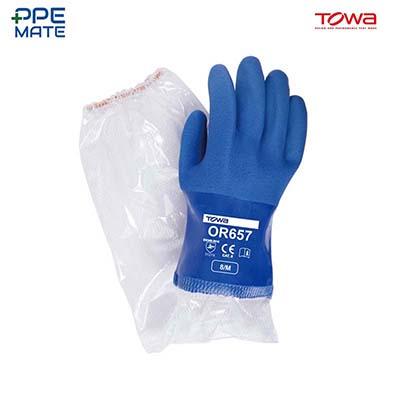 TOWA OR657 ถุงมือยาง PVC
