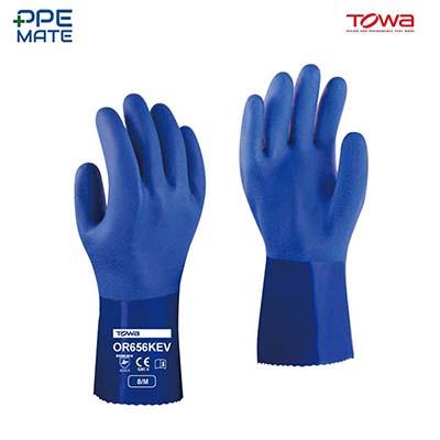 TOWA OR656 KEV ถุงมือยาง PVC