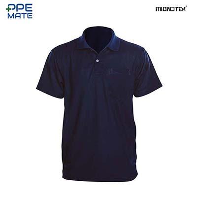 MICROTEX DryMax เสื้อโปโลแขนปล่อยคอปกผู้ชาย สีกรม