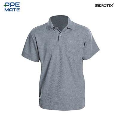 MICROTEX DryMax เสื้อโปโลแขนปล่อยคอปกผู้ชาย สีเทาอ่อน