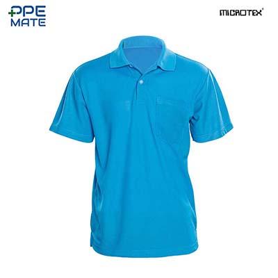 MICROTEX DryMax เสื้อโปโลแขนปล่อยคอปกผู้ชาย สีฟ้า