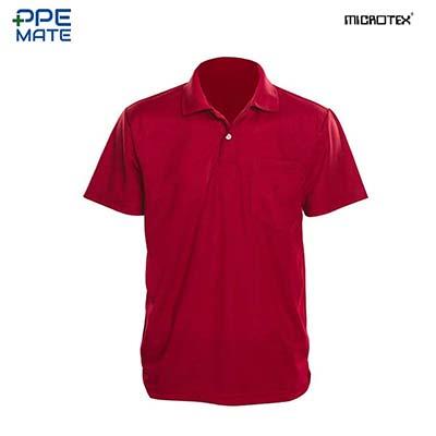 MICROTEX DryMax เสื้อโปโลแขนปล่อยคอปกผู้ชาย สีเลือดหมู