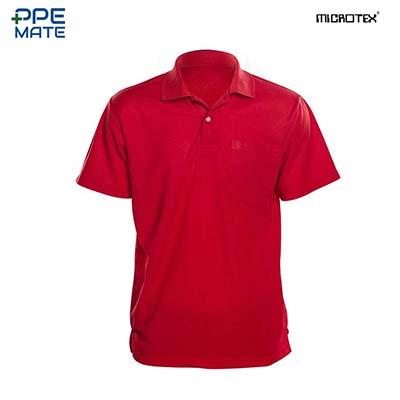MICROTEX DryMax เสื้อโปโลแขนปล่อยคอปกผู้ชาย สีแดง
