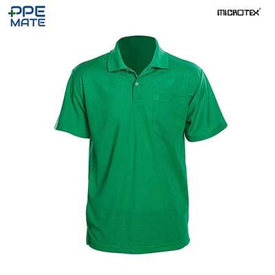 MICROTEX DryMax เสื้อโปโลแขนปล่อยคอปกผู้ชาย สีเขียว