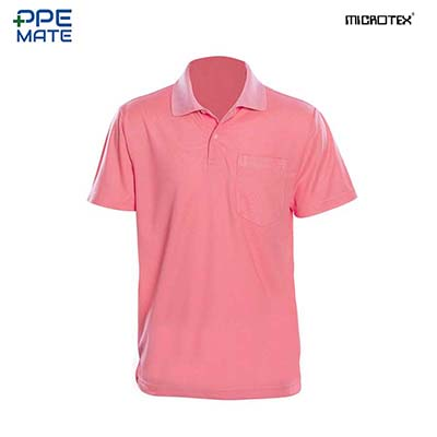 MICROTEX DryMax เสื้อโปโลแขนปล่อยคอปกผู้ชาย สีชมพู